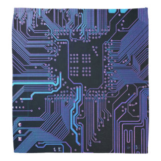 Placa de circuito fresca azul marino y púrpura del bandana