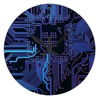 Placa de circuito fresca azul marino y púrpura del reloj redondo grande