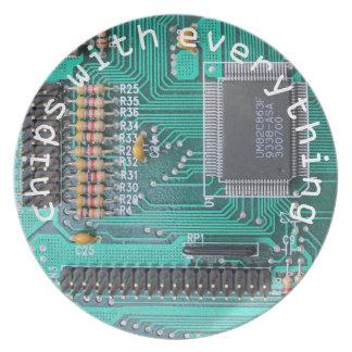 Placa de circuito Geeky, 'microprocesadores con el Platos