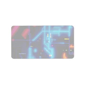 Placa de circuito gráfica que brilla intensamente etiqueta de dirección