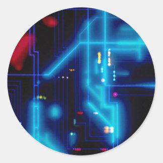 Placa de circuito gráfica que brilla intensamente pegatina redonda