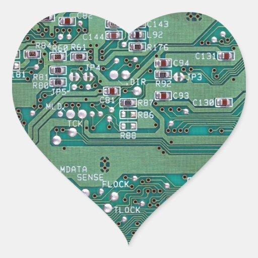 Placa de circuito impresa pegatina en forma de corazón