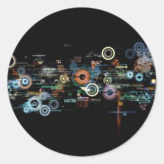 Placa de circuito - negro pegatina redonda