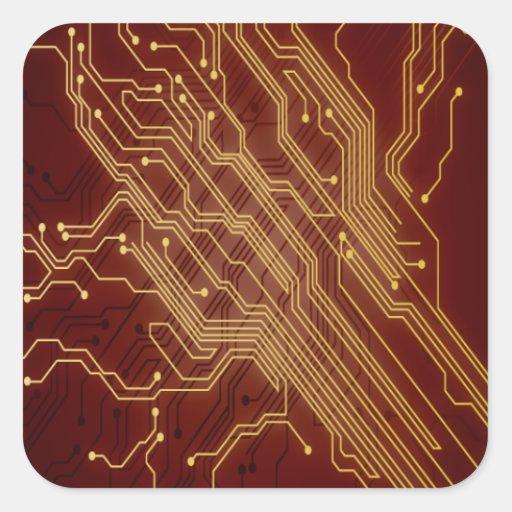 Placa de circuito oscura pegatinas cuadradases personalizadas