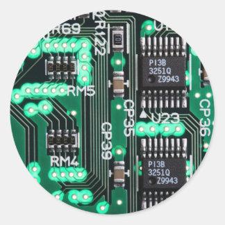 Placa de circuito etiqueta redonda