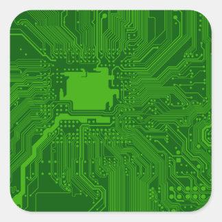 Placa de circuito calcomania cuadradas