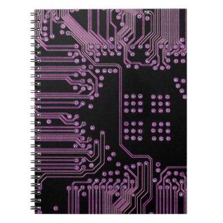 Placa de circuito rosada cuadernos