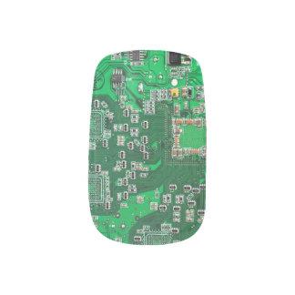 Placa de circuito verde del friki del ordenador arte para uñas