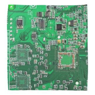Placa de circuito verde del friki del ordenador bandanas