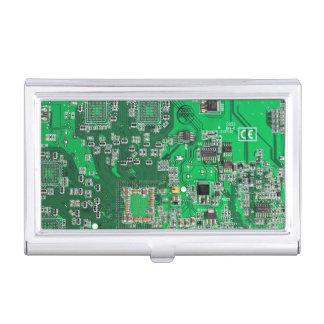Placa de circuito verde del friki del ordenador caja de tarjetas de presentación