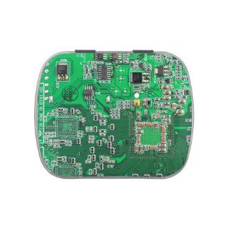 Placa de circuito verde del friki del ordenador frascos de dulces