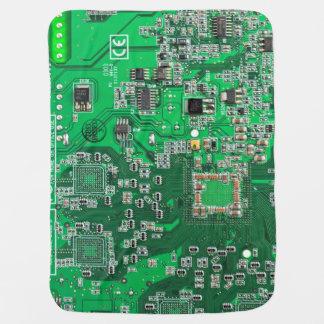 Placa de circuito verde del friki del ordenador mantitas para bebé