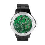 Placa de circuito verde del friki del ordenador relojes de pulsera