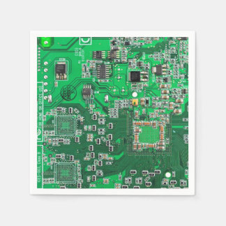 Placa de circuito verde del friki del ordenador servilletas desechables