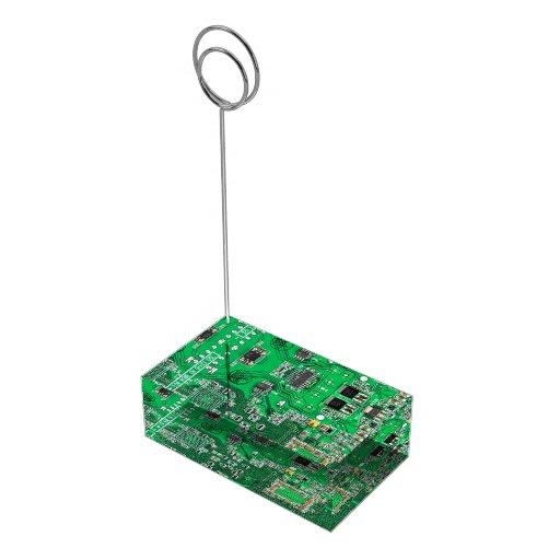 Placa de circuito verde del friki del ordenador soporte de tarjeta de mesa