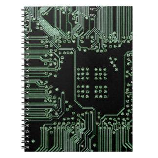 Placa de circuito verde libros de apuntes