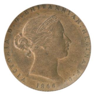 Placa de cobre amarillo vieja del penique de Britá Plato De Cena