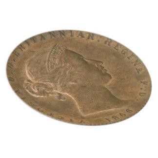 Placa de cobre amarillo vieja del penique de Britá Platos