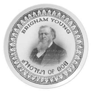 Placa de colectores de Brigham Young (profeta de Plato Para Fiesta