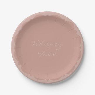 Placa de color topo/rosa horneada a la crema y con plato de papel de 7 pulgadas