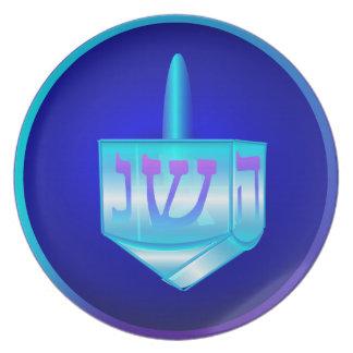 Placa de cristal azul de Dreidel Plato De Cena