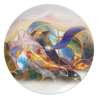 Placa de cristal del arte de los pescados de Koi Plato De Comida