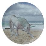 Placa de cuernos de los unicornios plato de comida