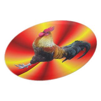 """Placa de destello 10"""" del gallo plato de comida"""
