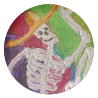 Placa de Dia De Los Muertos Skeleton Halloween Platos De Comidas