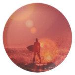 Placa de dios que practica surf plato
