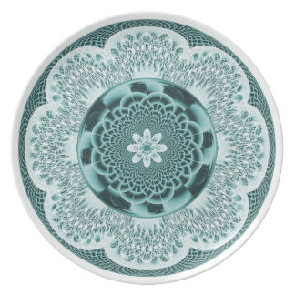 Placa de encaje de la armadura de la aguamarina plato de cena