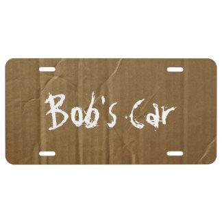 Placa de encargo de la cartulina placa de matrícula