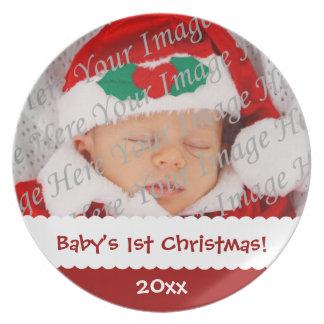 Placa de encargo de la foto del 1r navidad del beb platos de comidas