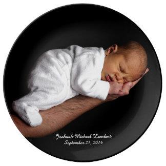 Placa de encargo de la foto del bebé del recuerdo platos de cerámica