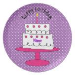 Placa de encargo de lujo del cumpleaños del lunar  plato