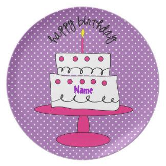 Placa de encargo de lujo del cumpleaños del lunar platos para fiestas