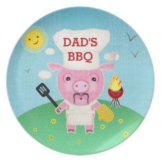Placa de encargo del cerdo de la barbacoa del Bbq Platos De Comidas
