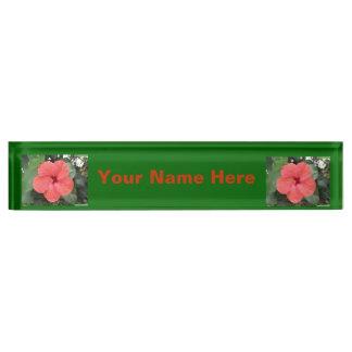 Placa de encargo del escritorio de la flor anaranj