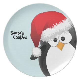 Placa de encargo del navidad del pingüino de Santa Plato Para Fiesta