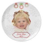 Placa de encargo del recuerdo del navidad de la fo plato para fiesta