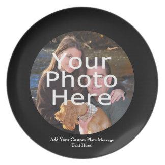 Placa de encargo del regalo de la foto con el mens plato de cena