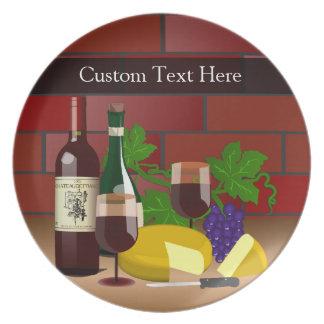 Placa de encargo del texto, escena de la tabla del plato de cena