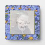 Placa de encargo floral azul de la exhibición de l