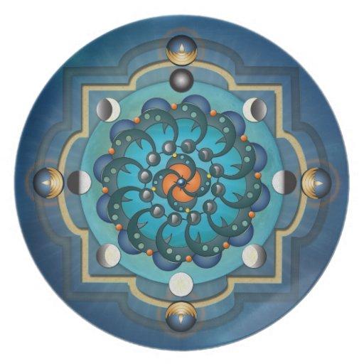 Placa de fases de la luna de la mandala plato para fiesta