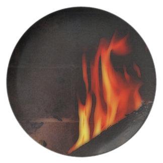 placa de fuego plato