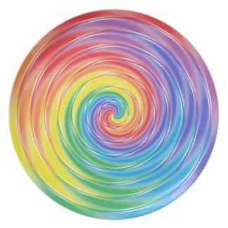 Placa de giro del arco iris platos