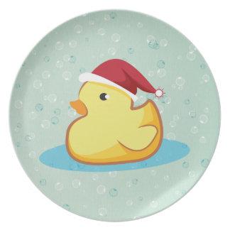 Placa de goma amarilla del duckie de las Felices N Plato