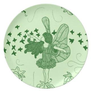 Placa de hadas de la caída (verde) platos