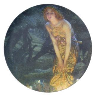 Placa de hadas de la danza de Eve de pleno verano Plato Para Fiesta