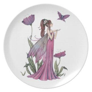 Placa de hadas del arte de la fantasía de la flor  plato para fiesta